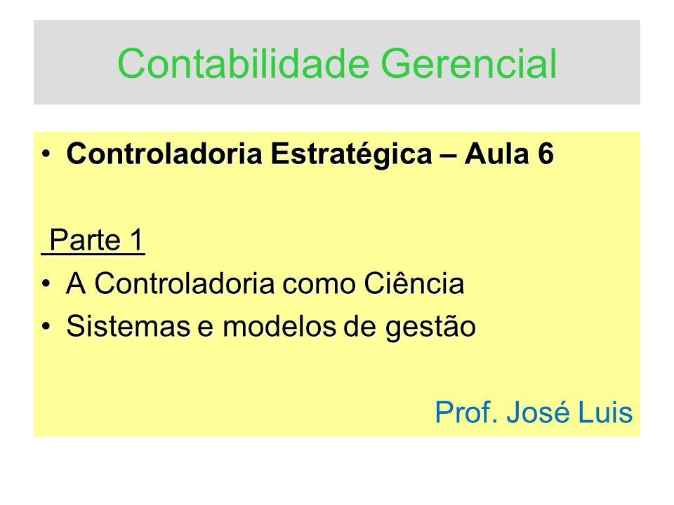 Controladoria A.A controladoria como ciência B. Sistemas e modelos de gestão C.