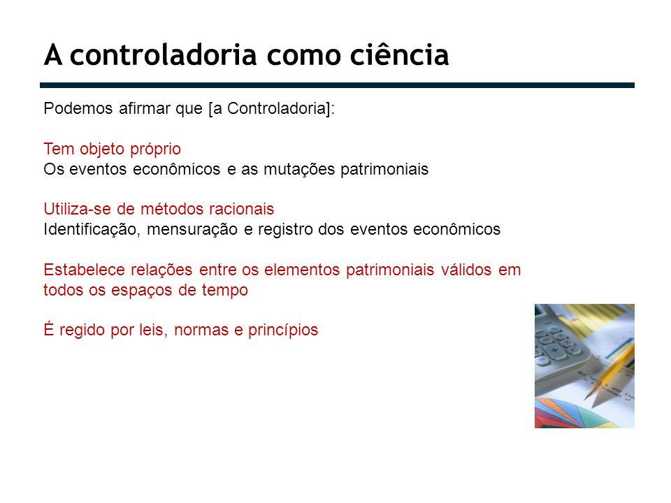 A controladoria como ciência Podemos afirmar que [a Controladoria]: Tem objeto próprio Os eventos econômicos e as mutações patrimoniais Utiliza-se de