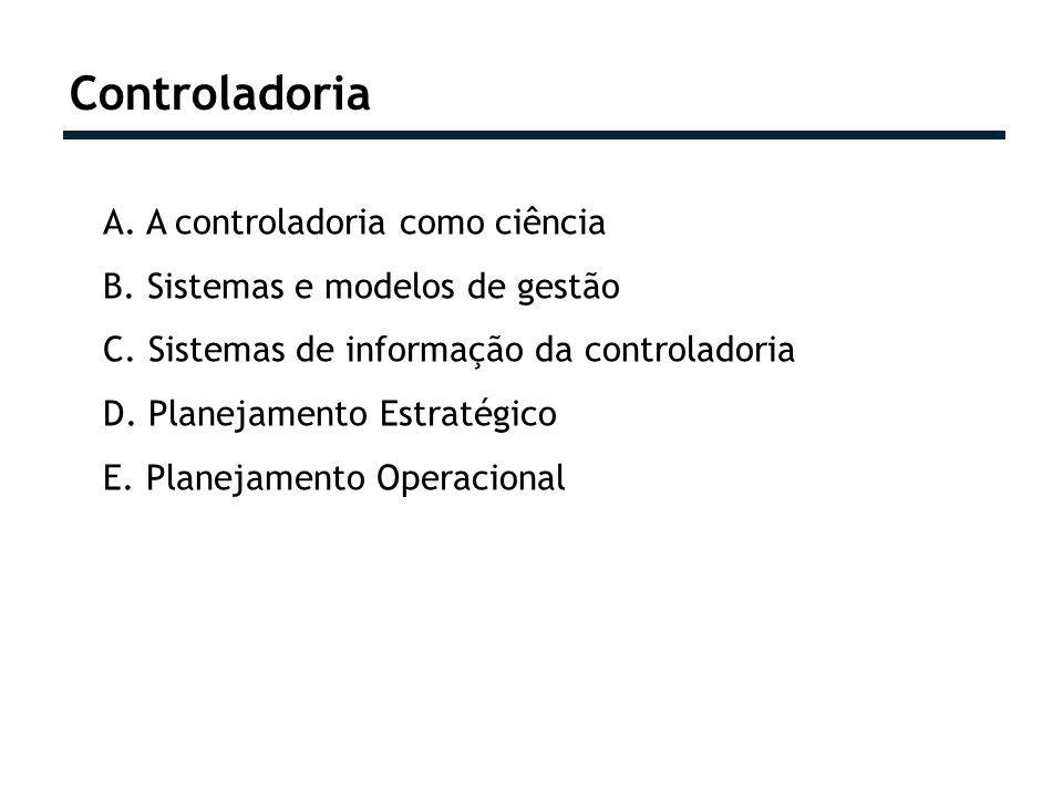 Controladoria A. A controladoria como ciência B. Sistemas e modelos de gestão C. Sistemas de informação da controladoria D. Planejamento Estratégico E