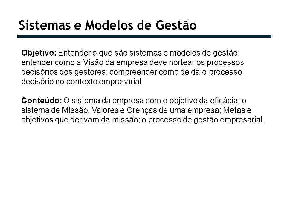 Sistemas e Modelos de Gestão Objetivo: Entender o que são sistemas e modelos de gestão; entender como a Visão da empresa deve nortear os processos dec