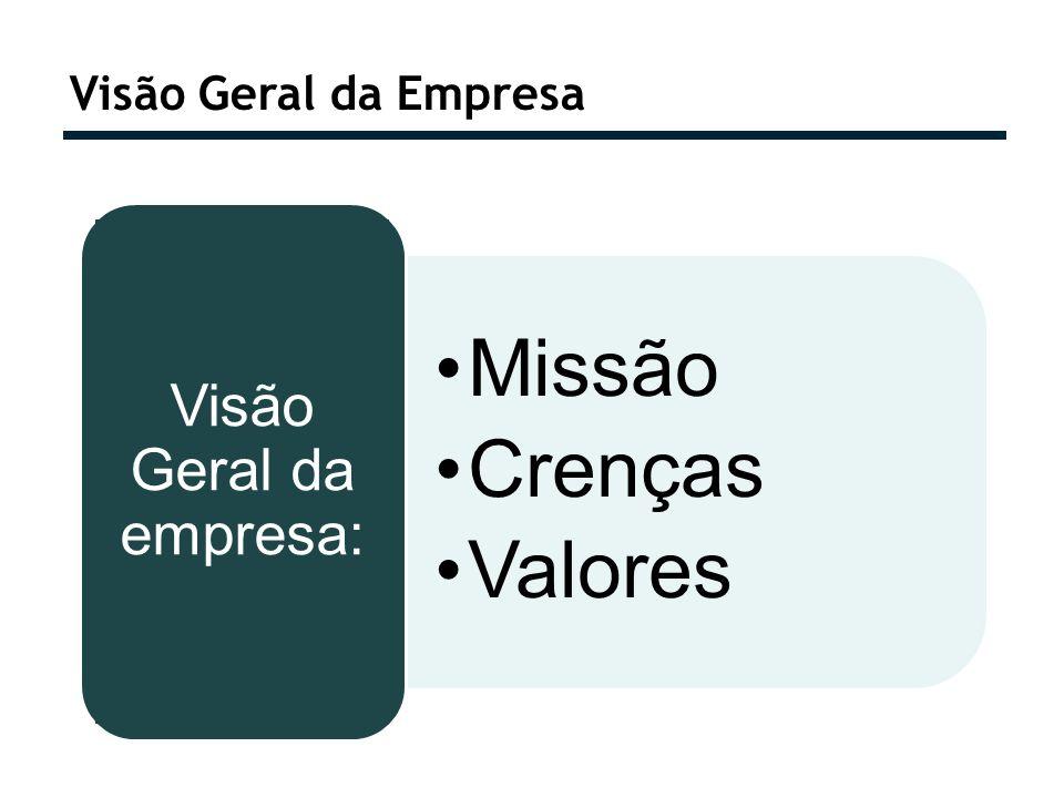 Visão Geral da Empresa Missão Crenças Valores Visão Geral da empresa: