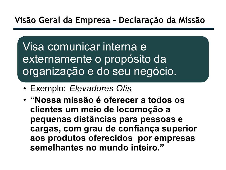 Visão Geral da Empresa – Declaração da Missão Visa comunicar interna e externamente o propósito da organização e do seu negócio. Exemplo: Elevadores O