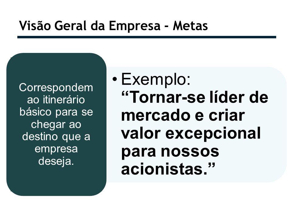 Visão Geral da Empresa - Metas Exemplo: Tornar-se líder de mercado e criar valor excepcional para nossos acionistas. Correspondem ao itinerário básico