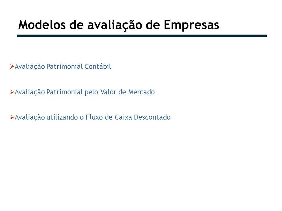 Modelos de avaliação de Empresas Avaliação Patrimonial Contábil Avaliação Patrimonial pelo Valor de Mercado Avaliação utilizando o Fluxo de Caixa Desc