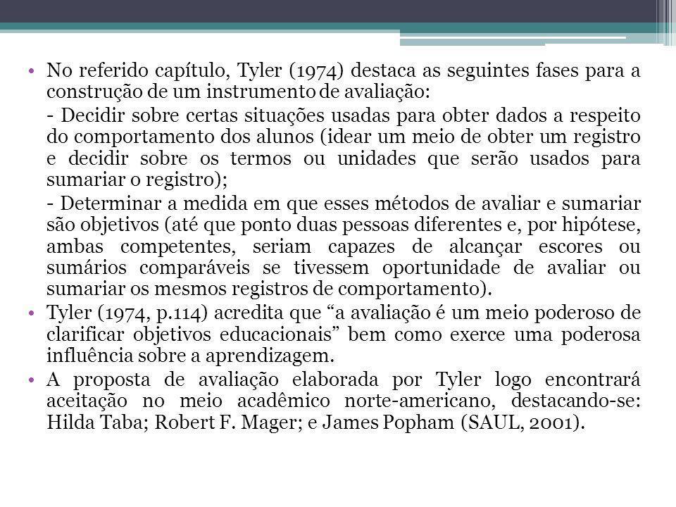 No referido capítulo, Tyler (1974) destaca as seguintes fases para a construção de um instrumento de avaliação: - Decidir sobre certas situações usada