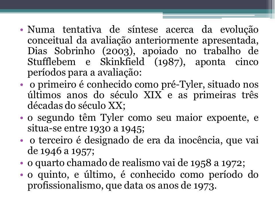 Outros autores como Penna Firme (1994) e Fernandes (2009), trabalham com a proposta de Guba e Lincoln (1989) que destacam quatro gerações para a avaliação: a primeira é chamada de mensuração, onde a ênfase é para as medidas e testes; a segunda é a da descrição, está centrada nos resultados com relação aos objetivos; a terceira é a do julgamento de valor, cabendo ao avaliador o papel de juiz; e a quarta geração chamada de negociação, onde os parâmetros e enquadramentos são determinados e definidos por um processo negociado e interativo com aqueles que de algum modo estão envolvidos na avaliação.