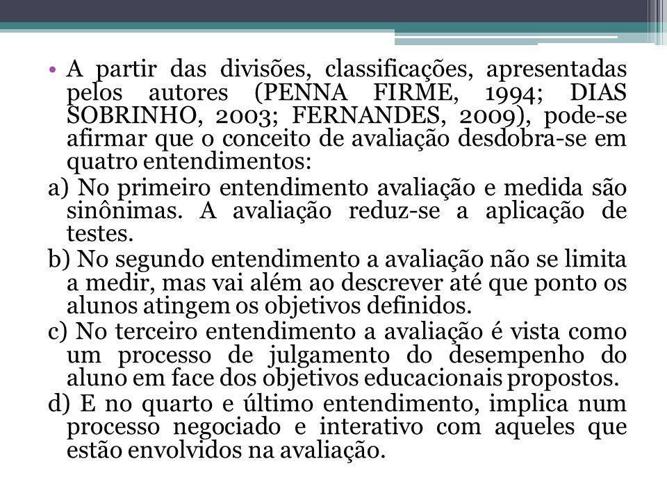 A partir das divisões, classificações, apresentadas pelos autores (PENNA FIRME, 1994; DIAS SOBRINHO, 2003; FERNANDES, 2009), pode-se afirmar que o con