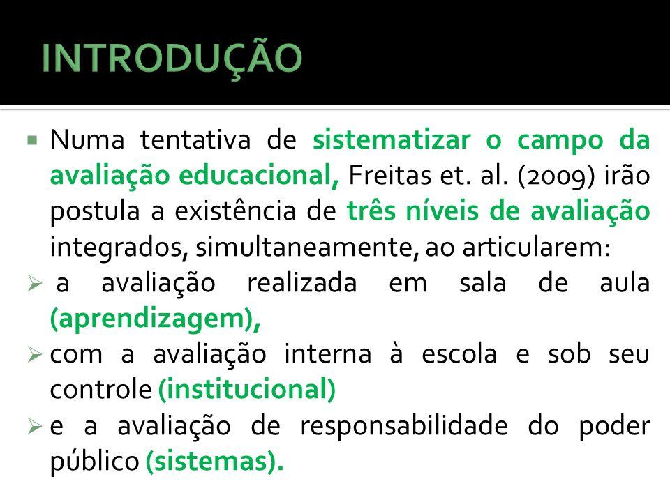 Numa tentativa de sistematizar o campo da avaliação educacional, Freitas et. al. (2009) irão postula a existência de três níveis de avaliação integrad