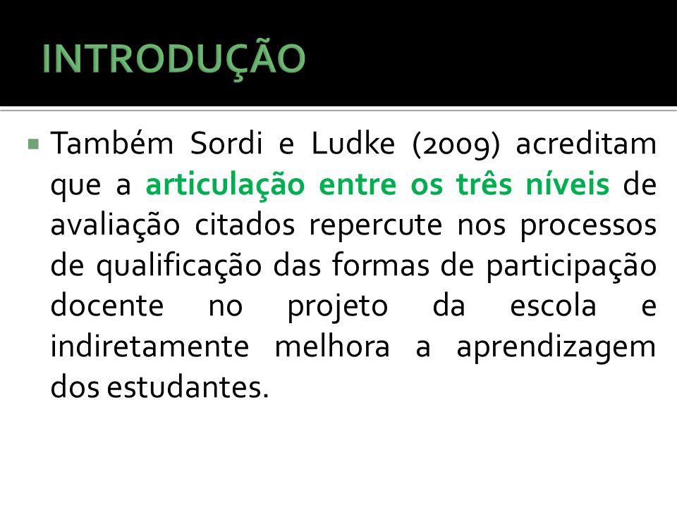 Também Sordi e Ludke (2009) acreditam que a articulação entre os três níveis de avaliação citados repercute nos processos de qualificação das formas d