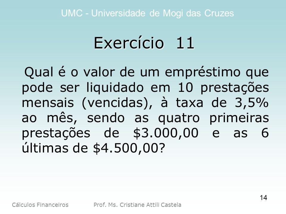 Cálculos Financeiros Prof. Ms. Cristiane Attili Castela UMC - Universidade de Mogi das Cruzes 14 Exercício 11 Qual é o valor de um empréstimo que pode