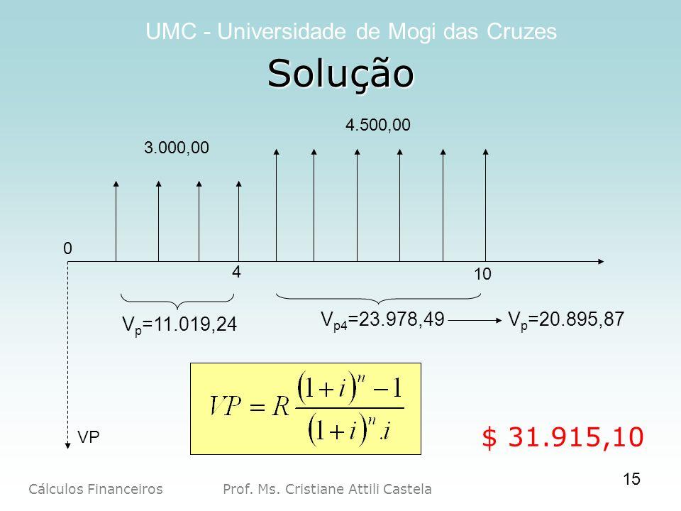 Cálculos Financeiros Prof. Ms. Cristiane Attili Castela UMC - Universidade de Mogi das Cruzes 15 Solução 10 4 VP 4.500,00 3.000,00 0 $ 31.915,10 V p =
