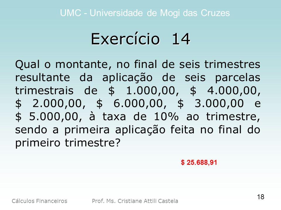 Cálculos Financeiros Prof. Ms. Cristiane Attili Castela UMC - Universidade de Mogi das Cruzes Exercício 14 Qual o montante, no final de seis trimestre