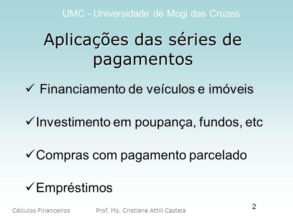 Cálculos Financeiros Prof. Ms. Cristiane Attili Castela UMC - Universidade de Mogi das Cruzes 2 Aplicações das séries de pagamentos Financiamento de v