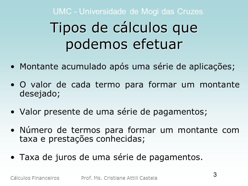 Cálculos Financeiros Prof. Ms. Cristiane Attili Castela UMC - Universidade de Mogi das Cruzes 3 Tipos de cálculos que podemos efetuar Montante acumula
