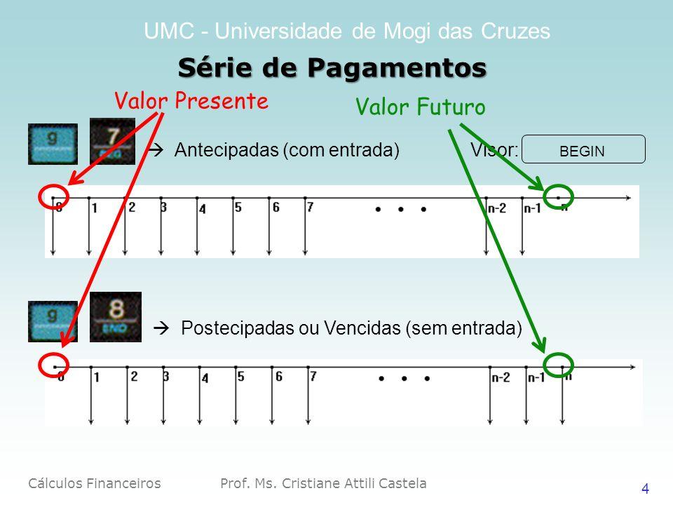 Cálculos Financeiros Prof. Ms. Cristiane Attili Castela UMC - Universidade de Mogi das Cruzes 4 Série de Pagamentos Antecipadas (com entrada) Visor: B