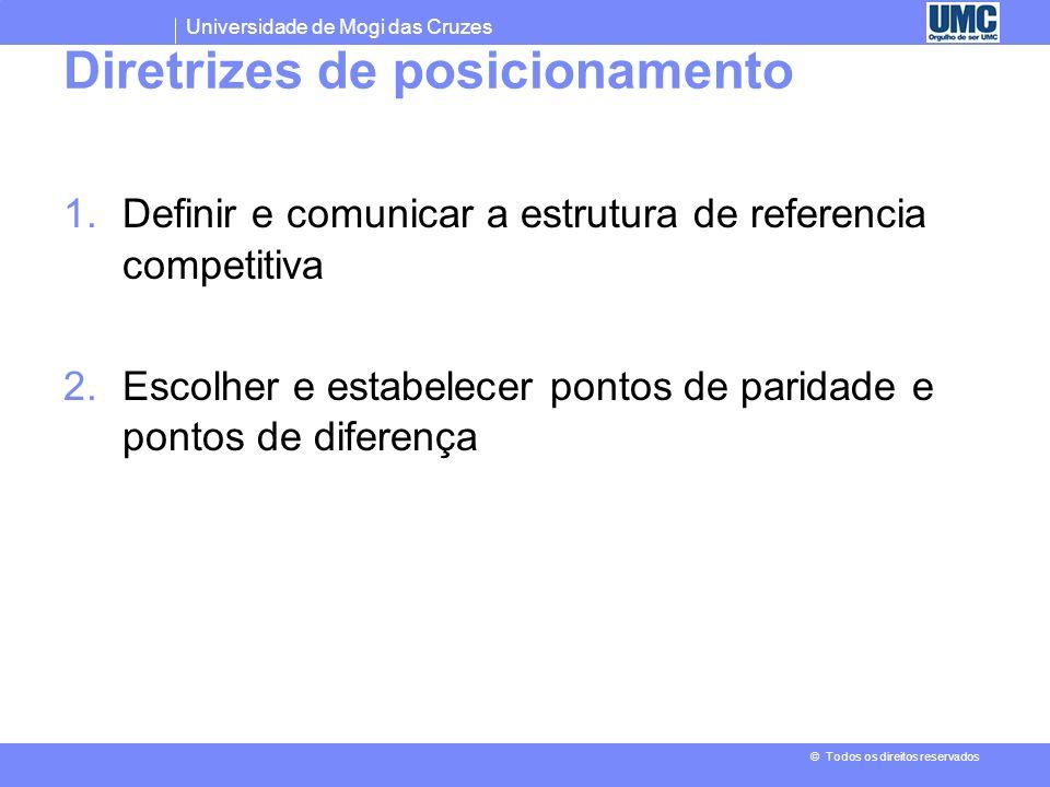 Universidade de Mogi das Cruzes © Todos os direitos reservados Pontos de paridade versus pontos de diferença PPs baseado em atributo/beneficio - Crenç