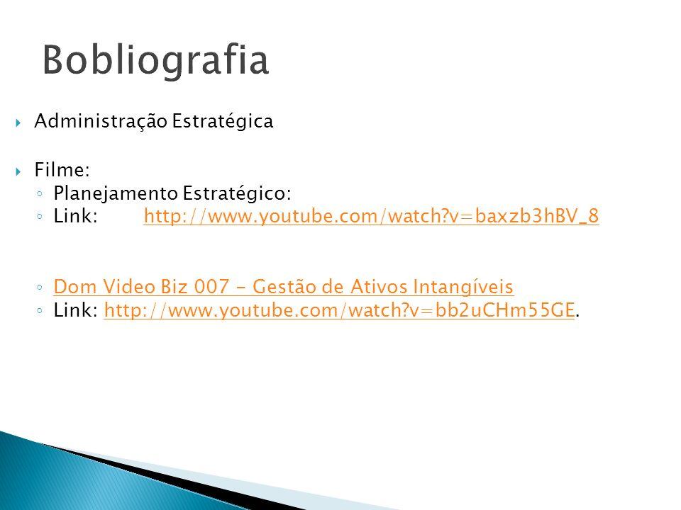 Administração Estratégica Filme: Planejamento Estratégico: Link:http://www.youtube.com/watch?v=baxzb3hBV_8http://www.youtube.com/watch?v=baxzb3hBV_8 Dom Video Biz 007 - Gestão de Ativos Intangíveis Link: http://www.youtube.com/watch?v=bb2uCHm55GE.http://www.youtube.com/watch?v=bb2uCHm55GE