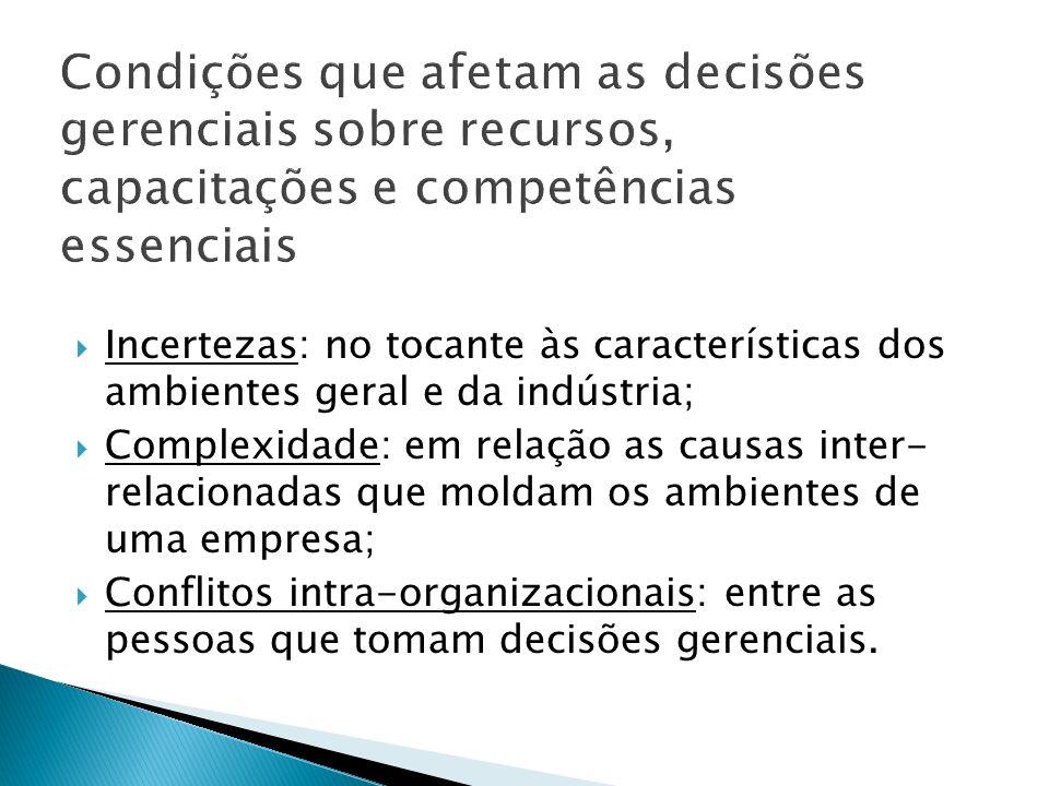 Incertezas: no tocante às características dos ambientes geral e da indústria; Complexidade: em relação as causas inter- relacionadas que moldam os ambientes de uma empresa; Conflitos intra-organizacionais: entre as pessoas que tomam decisões gerenciais.