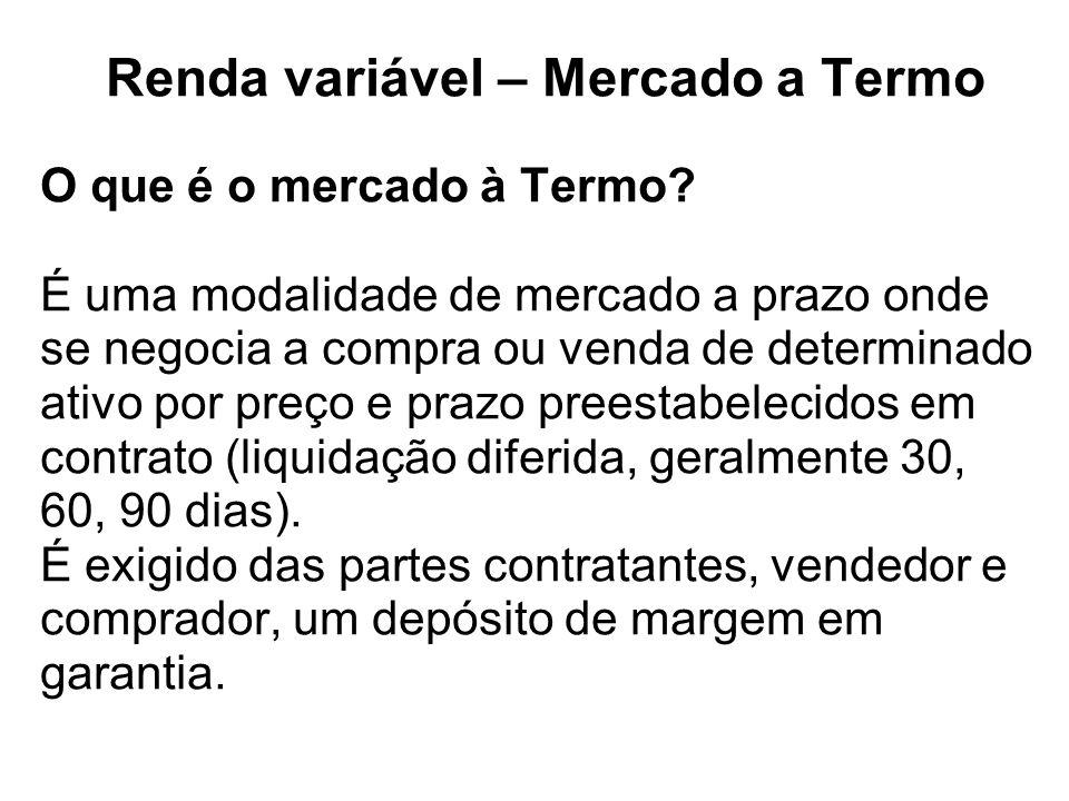 Renda variável – Mercado a Termo O que é o mercado à Termo.
