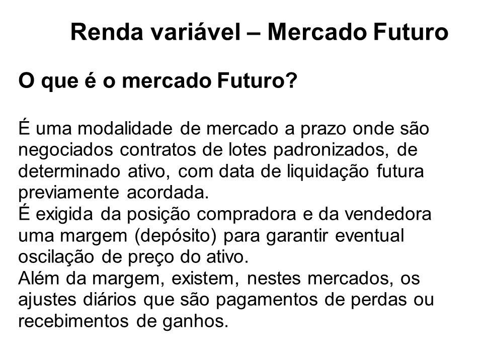 Renda variável – Mercado Futuro O que é o mercado Futuro.