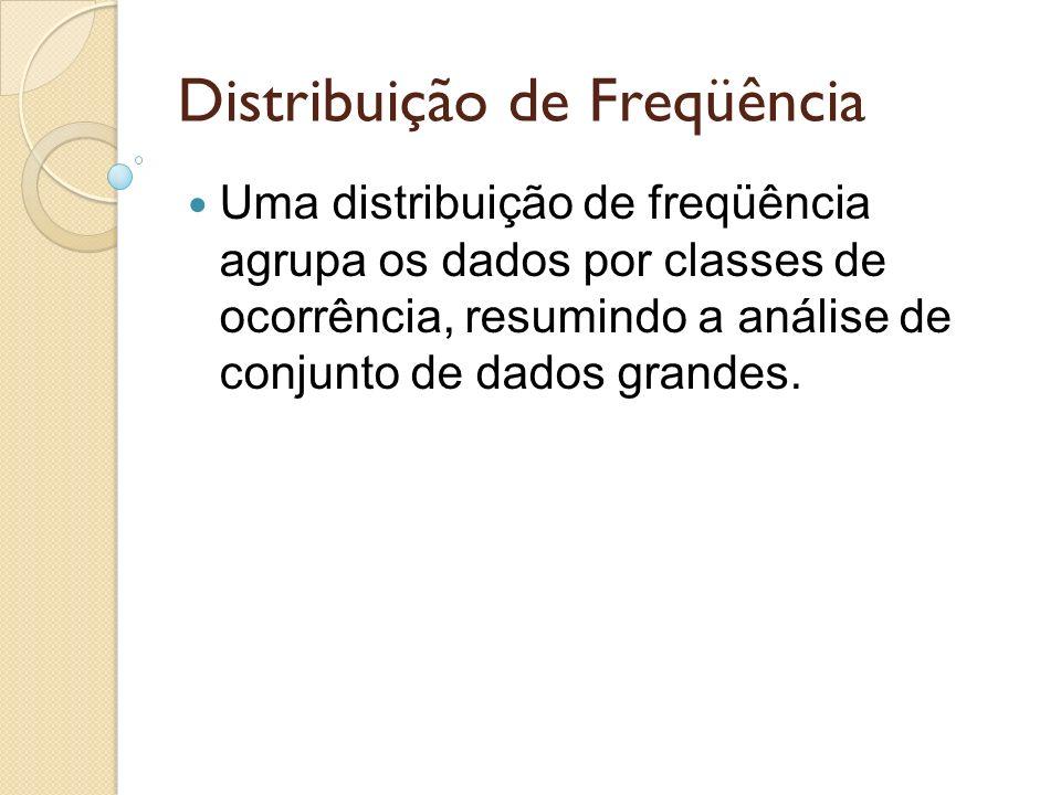 Distribuição de Freqüência Uma distribuição de freqüência agrupa os dados por classes de ocorrência, resumindo a análise de conjunto de dados grandes.