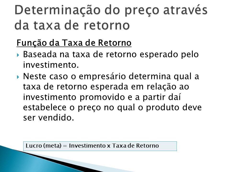 Função da Taxa de Retorno Baseada na taxa de retorno esperado pelo investimento. Neste caso o empresário determina qual a taxa de retorno esperada em