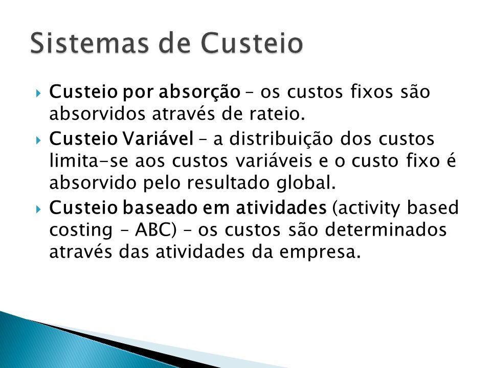 Custeio por absorção – os custos fixos são absorvidos através de rateio. Custeio Variável – a distribuição dos custos limita-se aos custos variáveis e