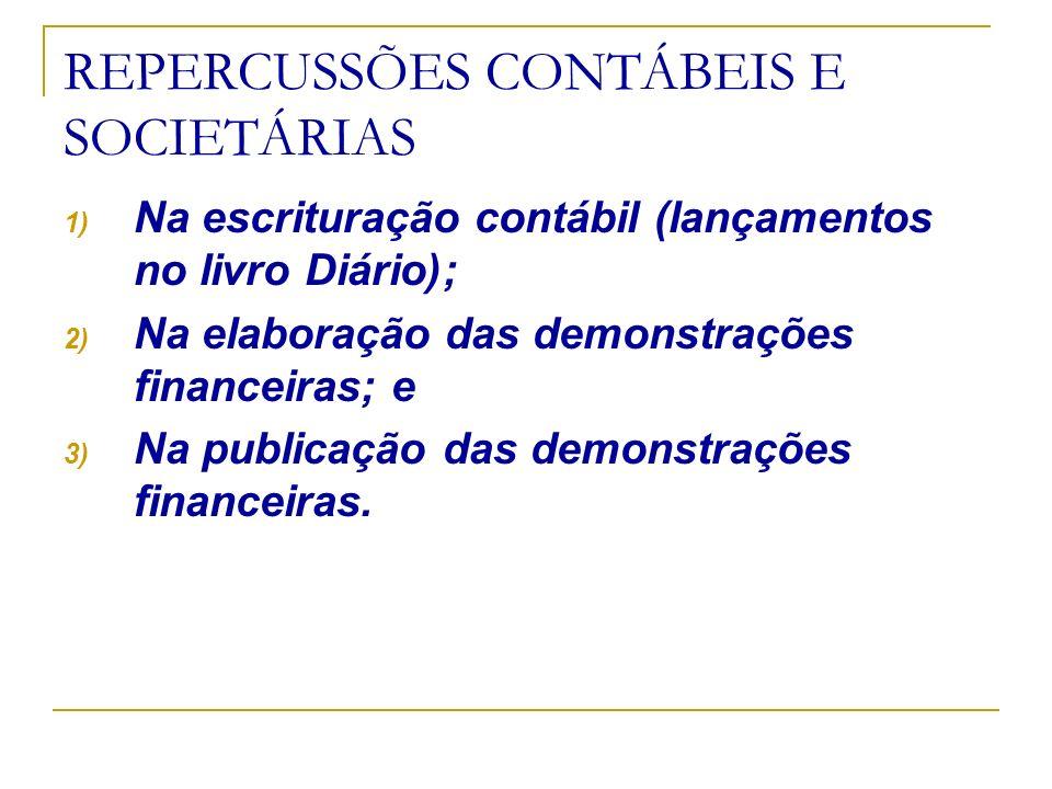 REPERCUSSÕES CONTÁBEIS E SOCIETÁRIAS 1) Na escrituração contábil (lançamentos no livro Diário); 2) Na elaboração das demonstrações financeiras; e 3) N