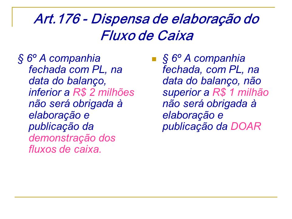 Art.176 - Dispensa de elaboração do Fluxo de Caixa § 6º A companhia fechada com PL, na data do balanço, inferior a R$ 2 milhões não será obrigada à el