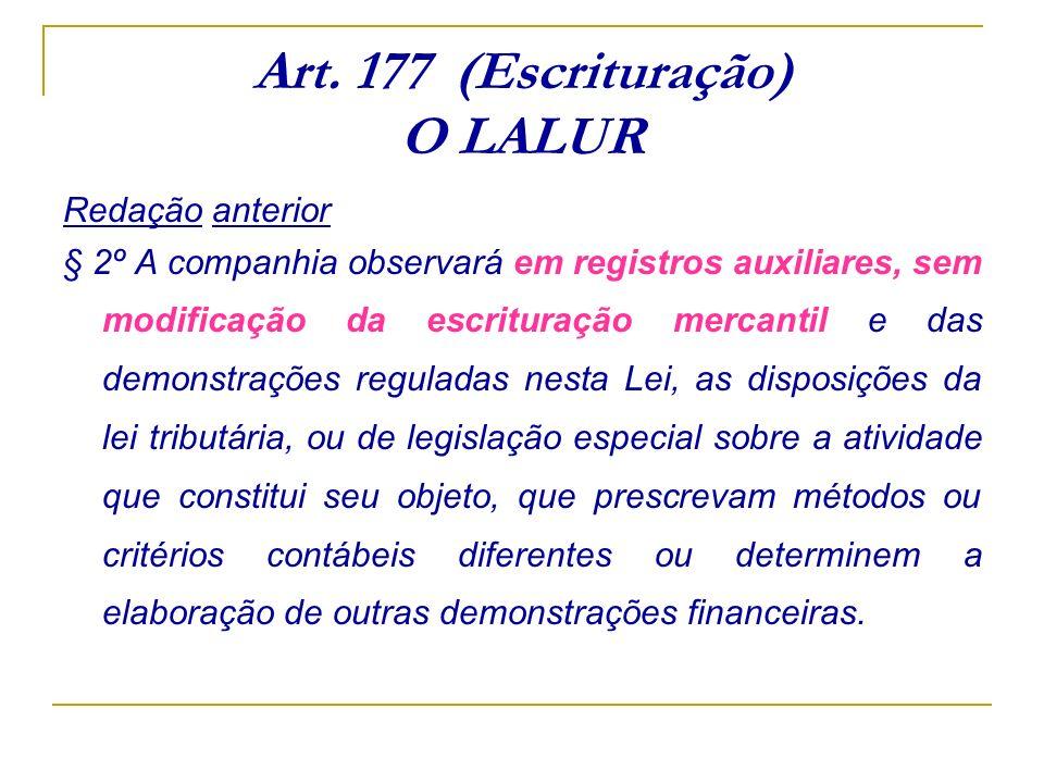 Art. 177 (Escrituração) O LALUR Redação anterior § 2º A companhia observará em registros auxiliares, sem modificação da escrituração mercantil e das d