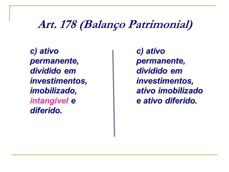 Art. 178 (Balanço Patrimonial) c) ativo permanente, dividido em investimentos, imobilizado, intangível e diferido. c) ativo permanente, dividido em in