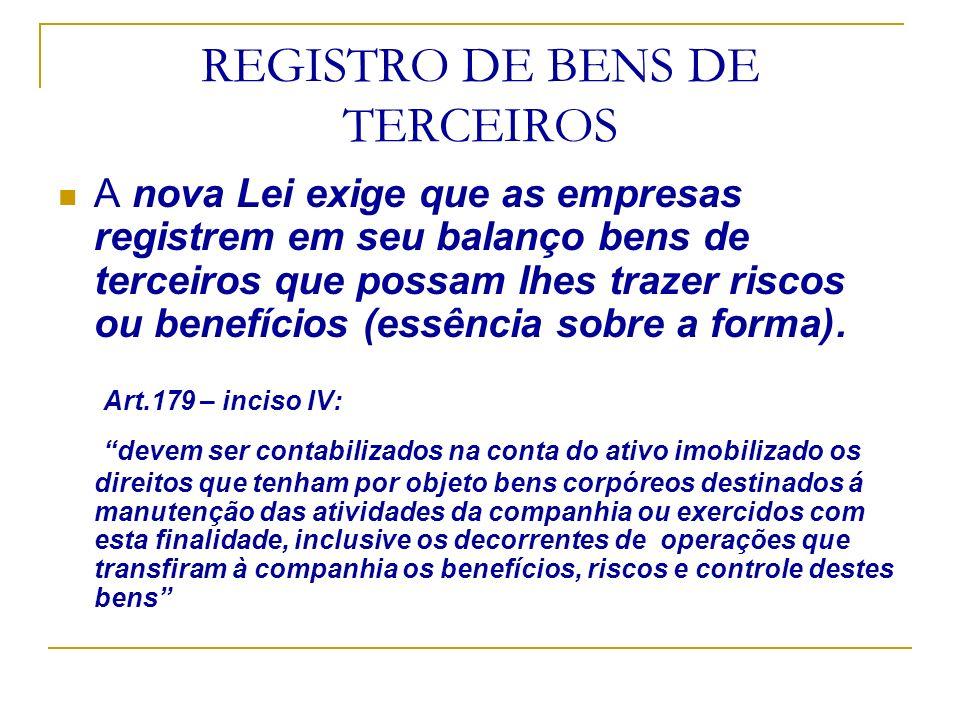 REGISTRO DE BENS DE TERCEIROS A nova Lei exige que as empresas registrem em seu balanço bens de terceiros que possam lhes trazer riscos ou benefícios