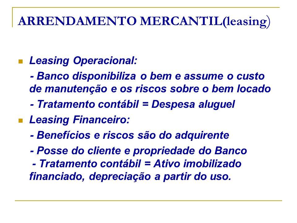 ARRENDAMENTO MERCANTIL(leasing ) Leasing Operacional: - Banco disponibiliza o bem e assume o custo de manutenção e os riscos sobre o bem locado - Trat