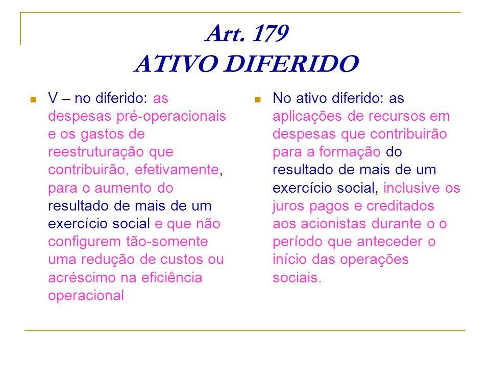 Art. 179 ATIVO DIFERIDO V – no diferido: as despesas pré-operacionais e os gastos de reestruturação que contribuirão, efetivamente, para o aumento do