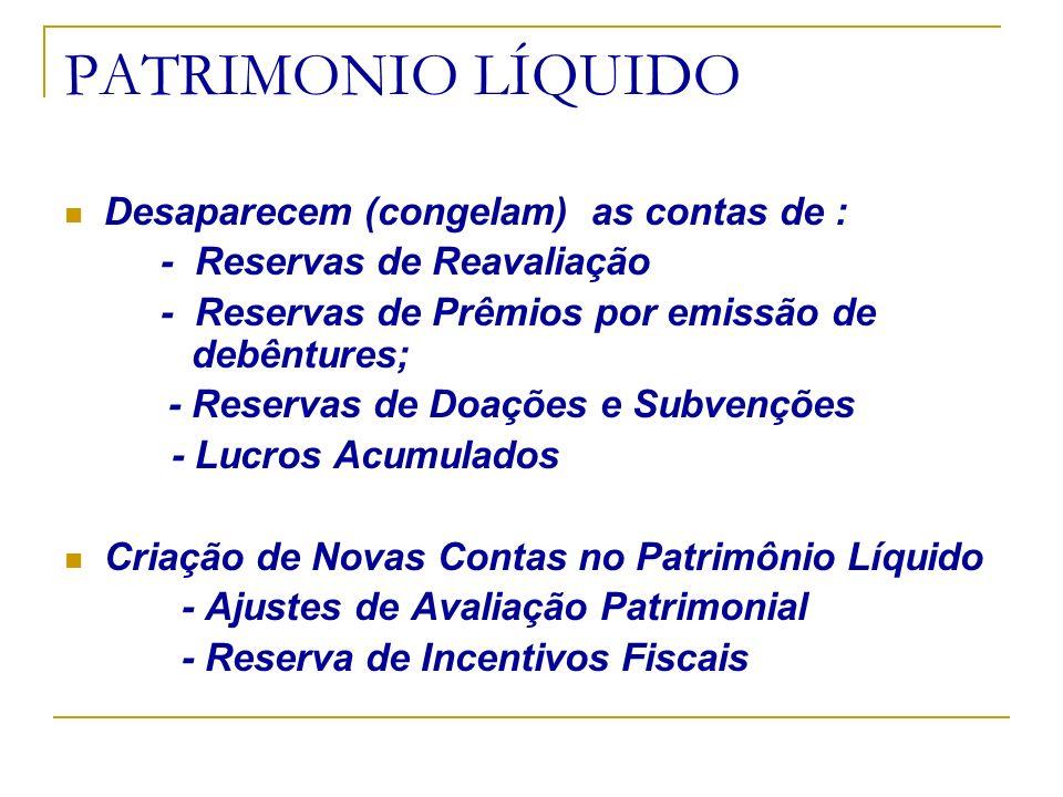 PATRIMONIO LÍQUIDO Desaparecem (congelam) as contas de : - Reservas de Reavaliação - Reservas de Prêmios por emissão de debêntures; - Reservas de Doaç