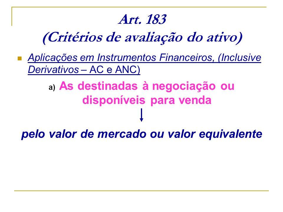 Art. 183 (Critérios de avaliação do ativo) Aplicações em Instrumentos Financeiros, (Inclusive Derivativos – AC e ANC) a) As destinadas à negociação ou