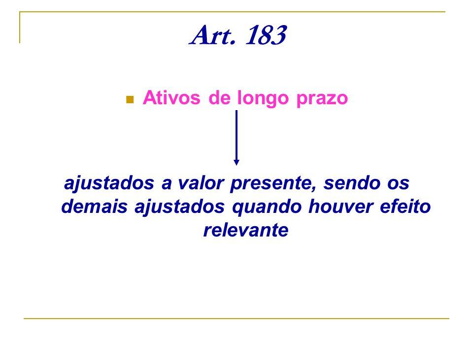 Art. 183 Ativos de longo prazo ajustados a valor presente, sendo os demais ajustados quando houver efeito relevante