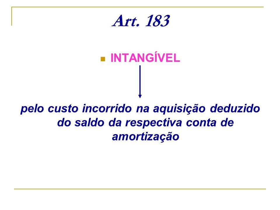 Art. 183 INTANGÍVEL pelo custo incorrido na aquisição deduzido do saldo da respectiva conta de amortização