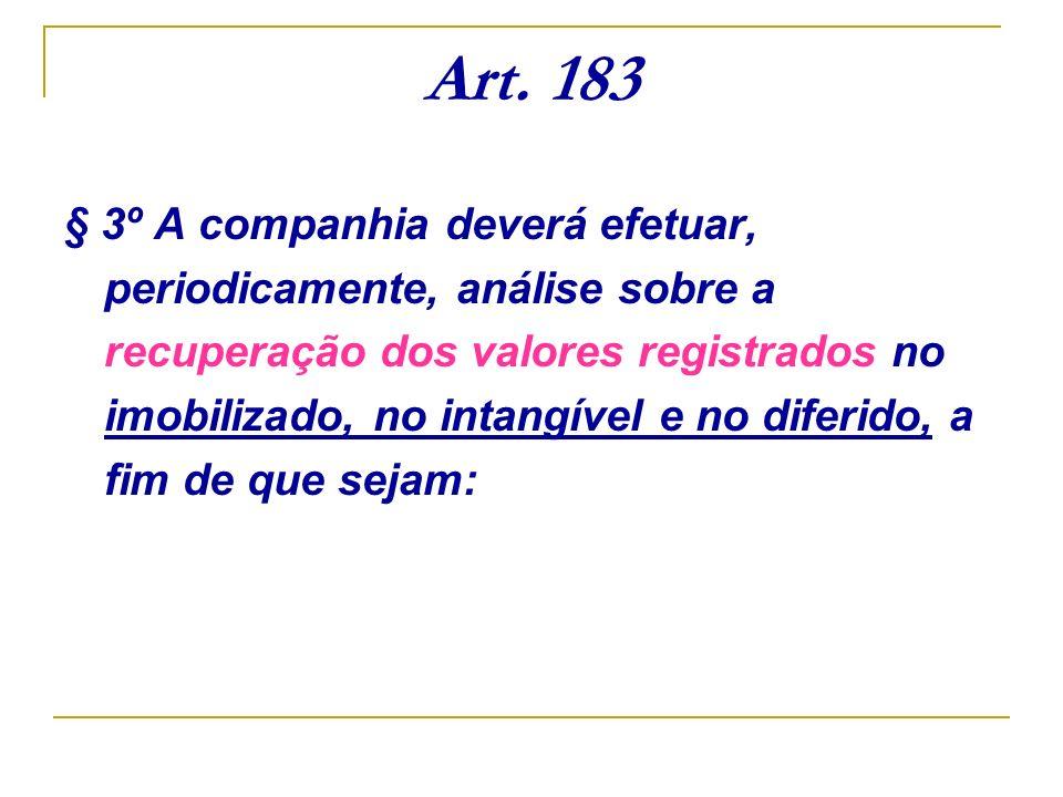 Art. 183 § 3º A companhia deverá efetuar, periodicamente, análise sobre a recuperação dos valores registrados no imobilizado, no intangível e no difer