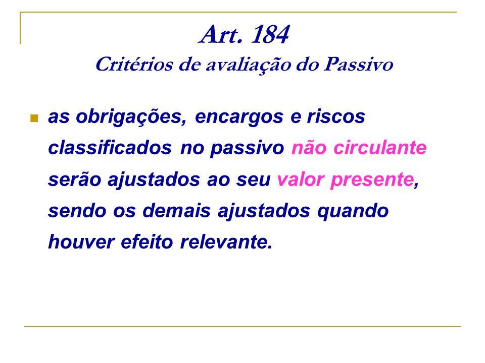 Art. 184 Critérios de avaliação do Passivo as obrigações, encargos e riscos classificados no passivo não circulante serão ajustados ao seu valor prese