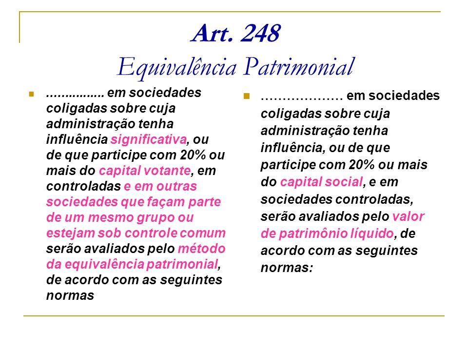 Art. 248 Equivalência Patrimonial................ em sociedades coligadas sobre cuja administração tenha influência significativa, ou de que participe