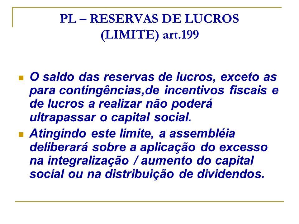PL – RESERVAS DE LUCROS (LIMITE) art.199 O saldo das reservas de lucros, exceto as para contingências,de incentivos fiscais e de lucros a realizar não