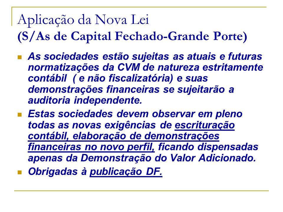 Aplicação da Nova Lei (S/As de Capital Fechado-Grande Porte) As sociedades estão sujeitas as atuais e futuras normatizações da CVM de natureza estrita
