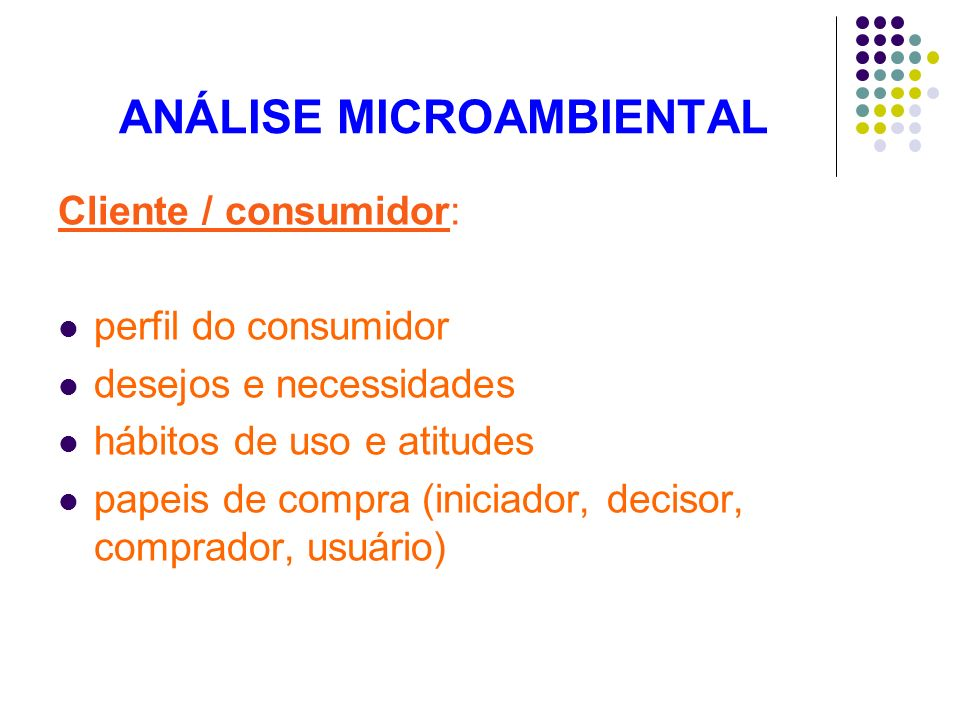 ANÁLISE MICROAMBIENTAL Cliente / consumidor: perfil do consumidor desejos e necessidades hábitos de uso e atitudes papeis de compra (iniciador, deciso
