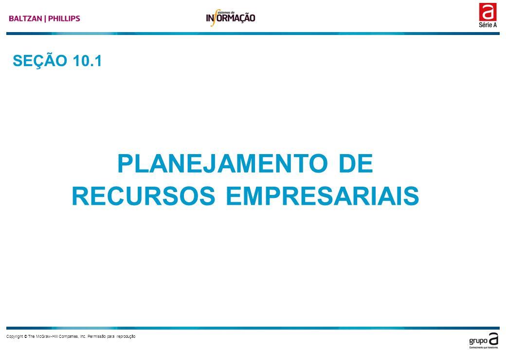 Copyright © The McGraw-Hill Companies, Inc. Permissão para reprodução SEÇÃO 10.1 PLANEJAMENTO DE RECURSOS EMPRESARIAIS
