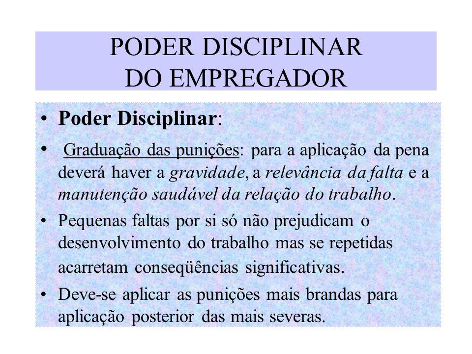 PODER DISCIPLINAR DO EMPREGADOR Poder Disciplinar: Graduação das punições: para a aplicação da pena deverá haver a gravidade, a relevância da falta e
