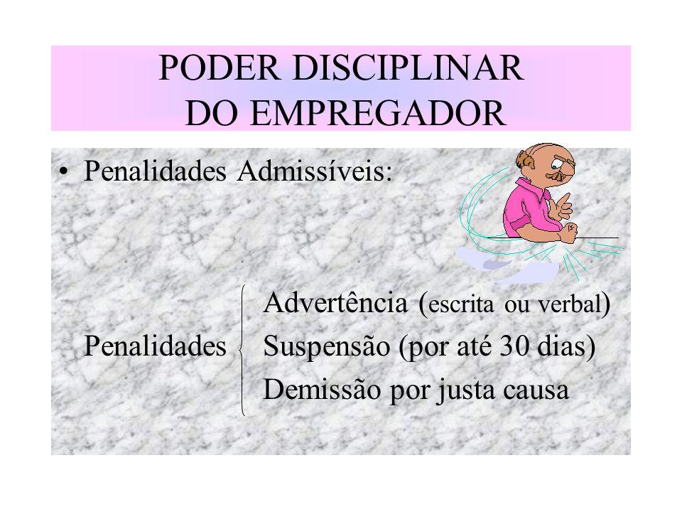 PODER DISCIPLINAR DO EMPREGADOR Penalidades Admissíveis: Advertência ( escrita ou verbal ) PenalidadesSuspensão (por até 30 dias) Demissão por justa c