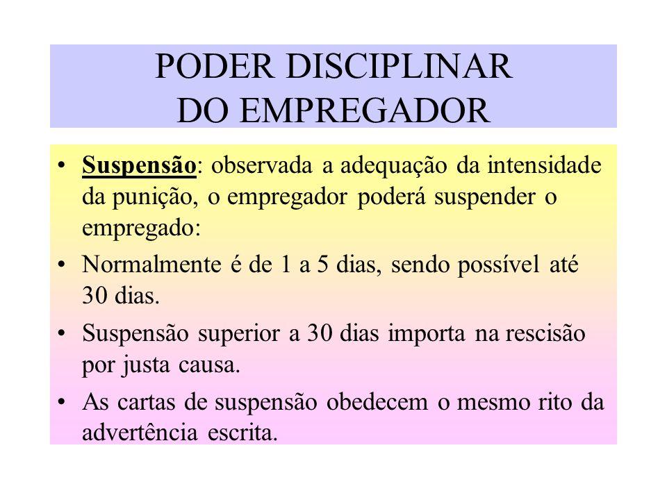 PODER DISCIPLINAR DO EMPREGADOR Suspensão: observada a adequação da intensidade da punição, o empregador poderá suspender o empregado: Normalmente é d