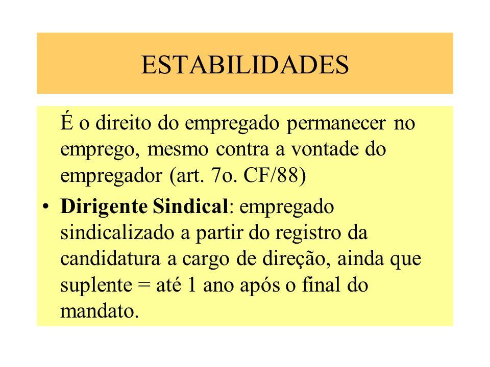 ESTABILIDADES É o direito do empregado permanecer no emprego, mesmo contra a vontade do empregador (art. 7o. CF/88) Dirigente Sindical: empregado sind