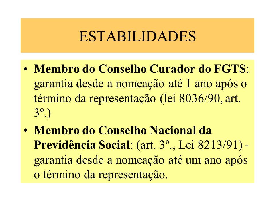 ESTABILIDADES Membro do Conselho Curador do FGTS: garantia desde a nomeação até 1 ano após o término da representação (lei 8036/90, art. 3º.) Membro d